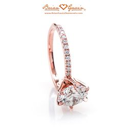Legera Pave Six Prong 18K Rose Gold