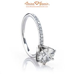 Legera Pave Six Prong 18K White Gold