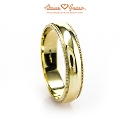 Half Round Milgrain Band - Size: 4.25 - 18k Yellow Gold