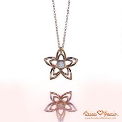 Flowers Large Pendant 18K Yellow Gold