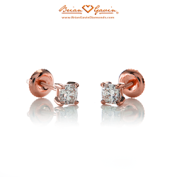 Square 4 Prong Earrings with Threaded Post-14K Rose Gold