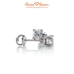 Square 4 Prong Earrings with Threaded Post-18K White Gold