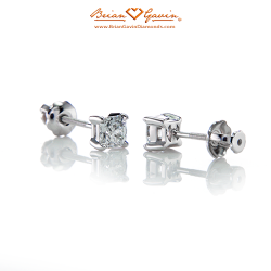 Square 4 Prong Earrings with Threaded Post