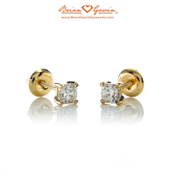 Square 4 Prong Earrings with Threaded Post-14K Yellow Gold