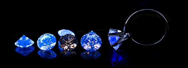 Diamonds with Blue Fluorescence