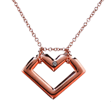 Brian Gavin Signature Rose Colored Titanium Heart Shaped Diamond Pendant
