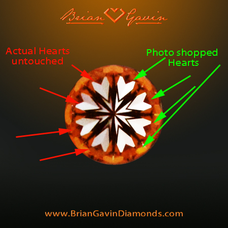 Untouched and Retouched Hearts and Arrows Images