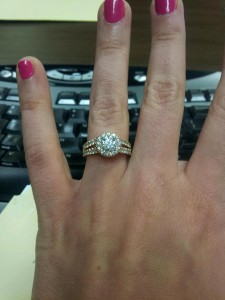 Kristin Split Shank Halo Engagement Ring Hand Shot