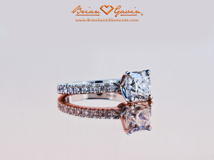 Round Square Halo Engagement Ring For A Cushion Cut Diamond
