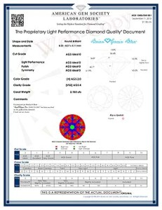Diamond Quality Document (DQD) issued by the AGSL for this 2.153 carat, H-color, VS-2 clarity, Brian Gavin Signature round hearts and arrows diamond