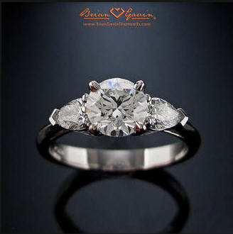 Looking for a Round Brilliant Diamond with Pear Shaped Side Stones