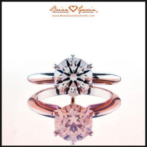 Traditional 6 prong white gold solitaire engagement ring
