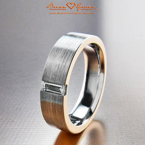 Mens Flat Brushed Wedding Band With Diamond Brian