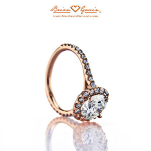 How Will M Color Diamond Look Set in 18k Rose Gold Halo Brian Gavin