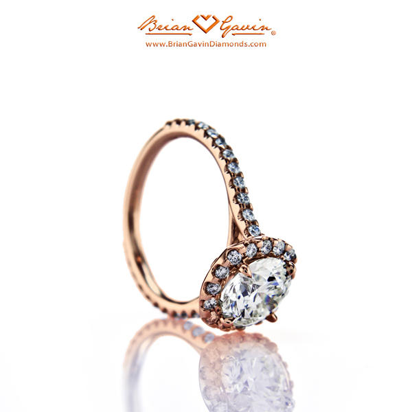 5689d69eb How Will M Color Diamond Look Set in 18k Rose Gold Halo Brian Gavin ...