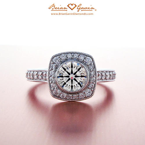 Square Halo Engagement Ring For Round Diamond Brian Gavin