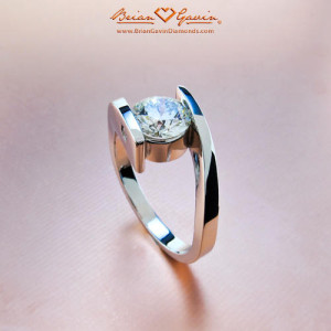 Brian Gavin Faux Tension Set Engagement Rings Design - Spiral of Love