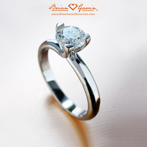 hree Prong Martini Solitaire Engagement Ring