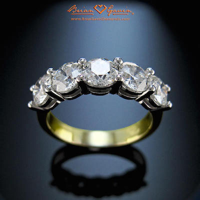diamond white ring gold five engagement side ctw p accented preset rings in