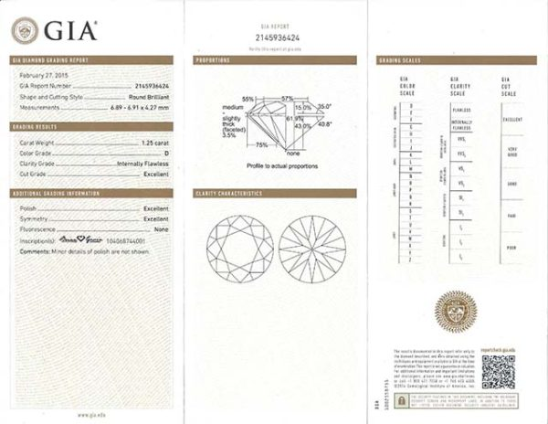 GIA Certificate for Brian Gavin Diamonds
