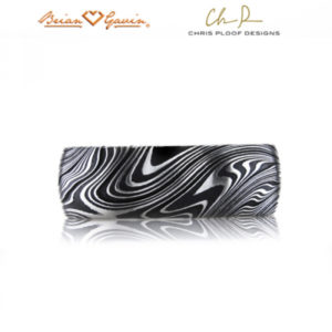 Damascus steel ring: Kona pattern, slightly rounded profile, black oxide finish, comfort fit interior