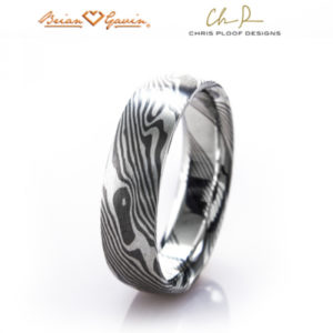 Mokume Gane Ring: Maple pattern with Palladium 500 and silver, slightly rounded profile, comfort fit interior