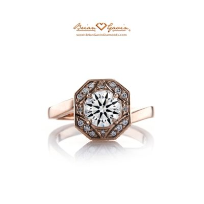 octagon diamond engagement ring from Brian Gavin's 810 Collection in Rose Gold