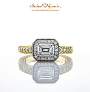 Signature Diamond Melee with Hearts and Arrows in Yellow Gold Emerald Cut Engagement Ring