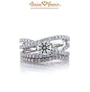 Signature Diamond Melee with Hearts and Arrows in White Gold Engagement Ring